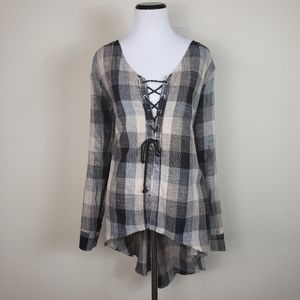 Gilded Intent Black & Grey Plaid Lace Up Front Top